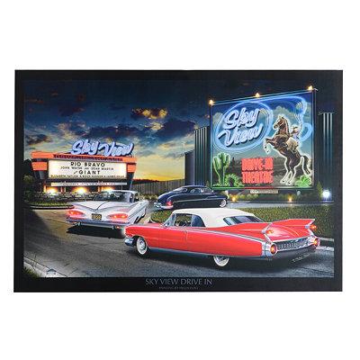 Skyview Drive In Pre-Lit Canvas Art Print