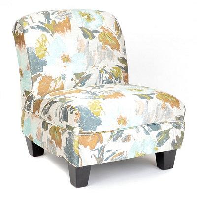 Blue Floral Print Slipper Chair