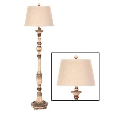 Cream Crackle Floor Lamp, 62 in.