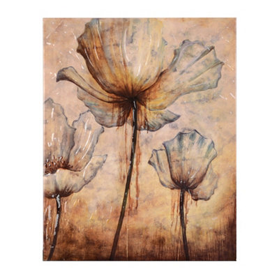 Blue Poppies Abstract Canvas Art Print
