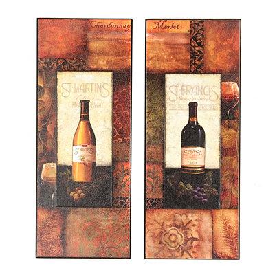 St. Martin & St. Francis Wine Plaque, Set of 2