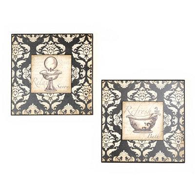 Black & White Damask Bathroom Plaque, Set of 2